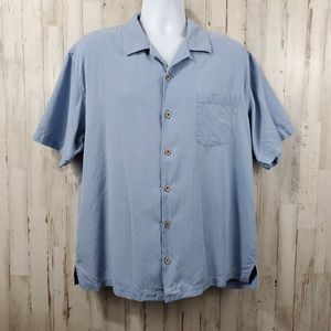 Tommy Bahama Mens Button Front Shirt L Blue Silk